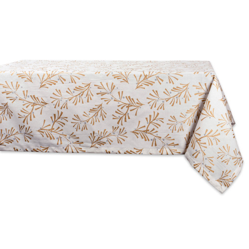 """52"""" White and Gold Colored Tropical Style Square Tablecloth - IMAGE 1"""