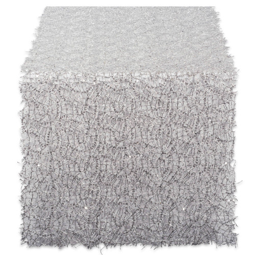"""120"""" Silver and White Sequin Mesh Woven Table Runner Roll - IMAGE 1"""
