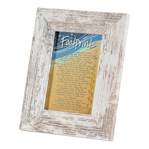 """8.5"""" White and Blue Distressed Finish Rectangular Photo Frame Tabletop - IMAGE 1"""