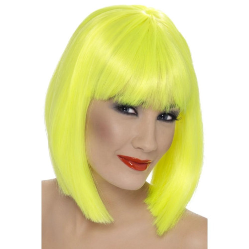 "26"" Neon Yellow Glam Short Blunt Fringe Women Adult Halloween Wig Costume Accessory - One Size - IMAGE 1"