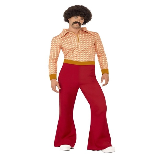 """49"""" Orange and Red Authentic 1970's Style Men Adult Halloween Costume - XL - IMAGE 1"""