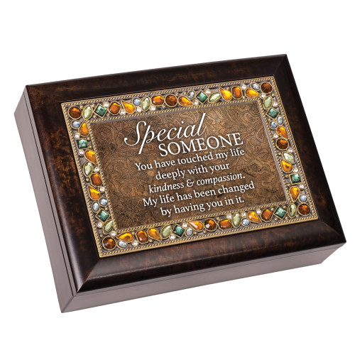 """8"""" Taupe Brown and White Rectangular Framed Musical Box - IMAGE 1"""