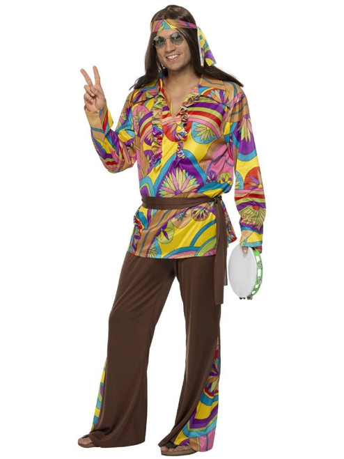 """49"""" Brown and Yellow Psychedelic Hippie Men Adult Halloween Costume - XL - IMAGE 1"""