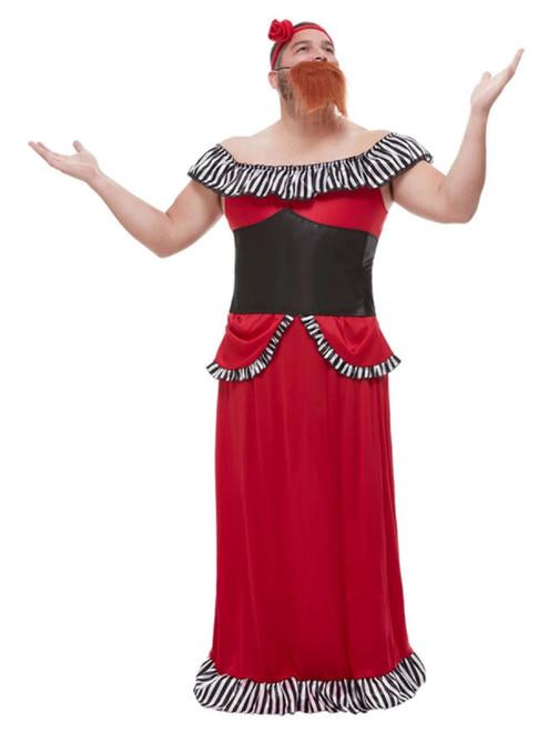 "49"" Red and Black Beard Lady Men Adult Halloween Costume - Medium - IMAGE 1"