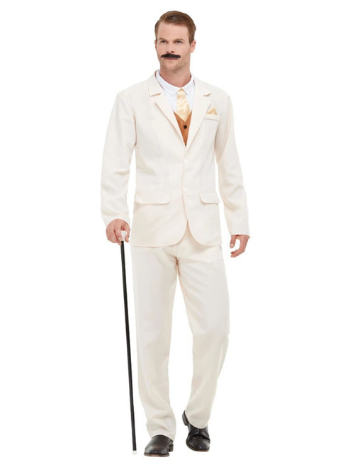 "49"" Cream White and Brown 1920's Style Roaring Gent Men Adult Halloween Costume - XL - IMAGE 1"