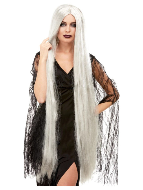 """26"""" Gray Long and Straight Women Adult Halloween Wig Costume Accessory - One Size - IMAGE 1"""