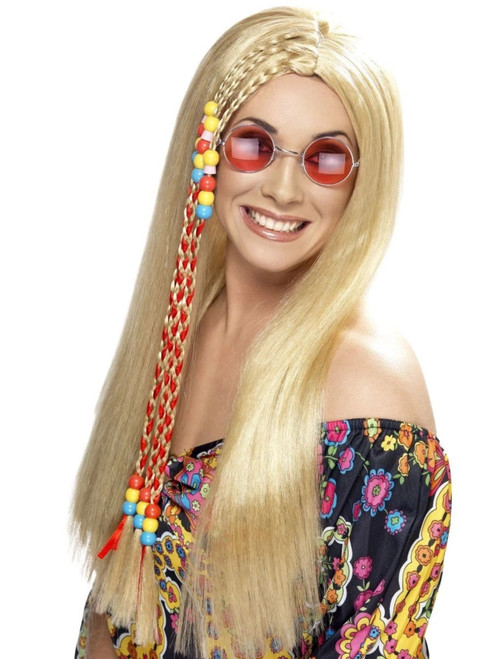 """26"""" Blonde 1960's Style Groovy Hippy Party Long Women Adult Halloween Wig Costume Accessory - One Size - IMAGE 1"""