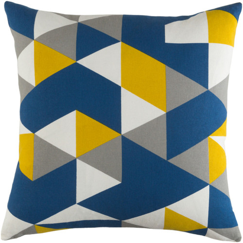 """18"""" Blue and White Printed Geometrical Patterned Square Woven Throw Pillow Cover with Knife Edge - IMAGE 1"""