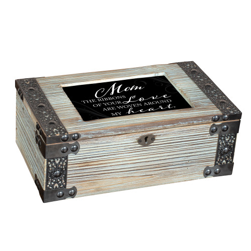 "9.75"" Green and Black Mom's Love Themed Rectangular Music Box - IMAGE 1"