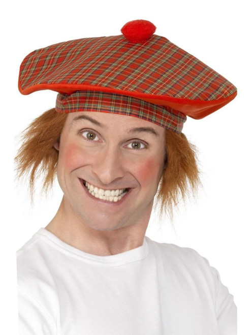 """30"""" Red and Green Tam-O-Shanter Checkered Men Adult Halloween Cap Costume Accessory - One Size - IMAGE 1"""