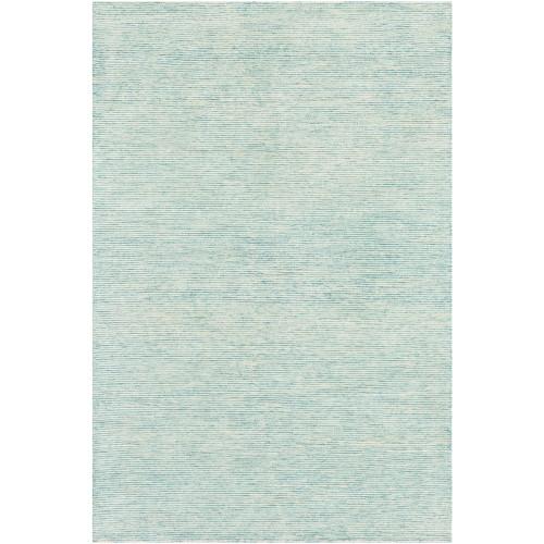 8' x 10' Aqua Blue and Beige Hand Tufted Wool Rectangular Area Throw Rug - IMAGE 1