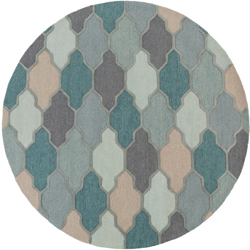 6' Geometrical Trellis Patterned Teal Blue and Gray Round Area Throw Rug - IMAGE 1