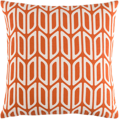 "18"" Orange and Cream Screen Printed Square Woven Throw Pillow Cover with Knife Edge - IMAGE 1"