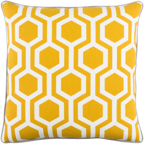"""18"""" Yellow and White Hexagonal Pattern Square Woven Throw Pillow - Poly Filled - IMAGE 1"""