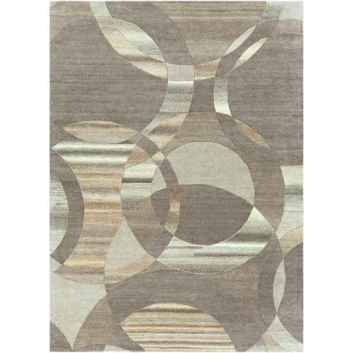 8' x 11' Geometric Design Brown and Beige Rectangular Area Throw Rug - IMAGE 1