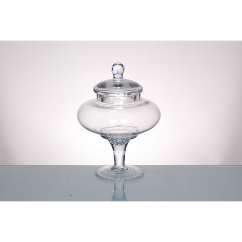 """9.5"""" Clear Hand-Blown Glass Jar with Finial Lid - IMAGE 1"""