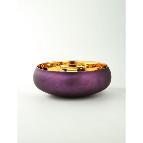 "12"" Purple Handblown Glass Bowl Tabletop Decor - IMAGE 1"