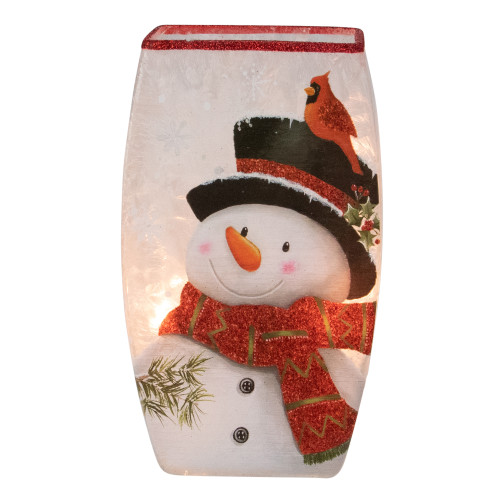 """8"""" White and Red Snowman Lighted Christmas Vase Tabletop Decoration - IMAGE 1"""