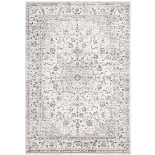 "6'7"" x 9' Distressed Mandala Taupe and White Rectangular Machine Woven Area Rug - IMAGE 1"