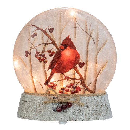 """8"""" Brown and Red Lighted Cardinal Winter Wonderland Christmas Tabletop Decoration - IMAGE 1"""