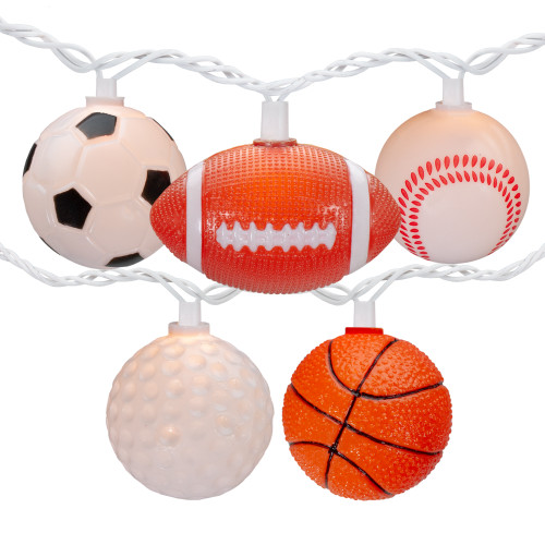 10 Sports Balls Summer Patio Novelty String Lights - 8.5 ft White Wire - IMAGE 1