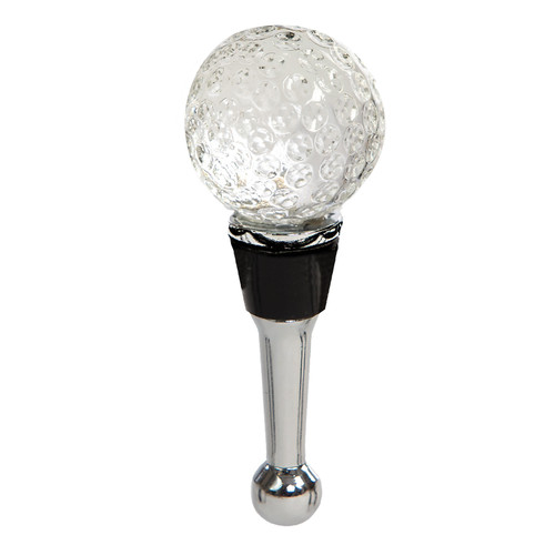 """5"""" Clear and Stainless Steel Handblown Glass Golf Ball Wine Bottle Stopper - IMAGE 1"""