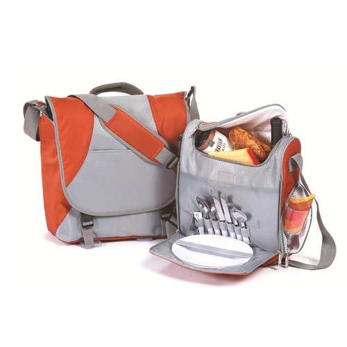 Set of 11 Gray and Orange Flex 2-Person Picnic Bag - IMAGE 1
