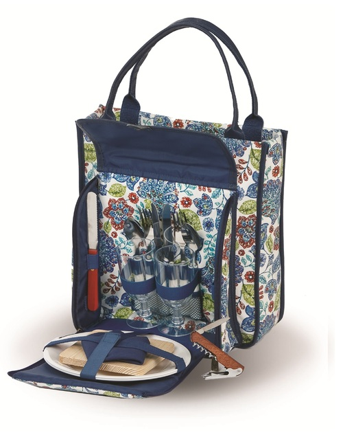"14"" Blue Cabernet 2 Person Picnic Tote - IMAGE 1"