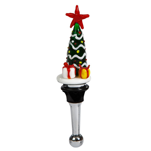 """5"""" Green and White Handblown Glass Christmas Tree Wine Bottle Stopper - IMAGE 1"""