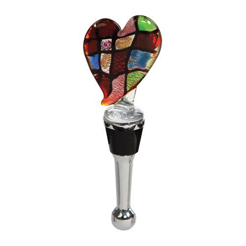 """5"""" Red and Stainless Steel Handblown Glass Heart Shape Wine Bottle Stopper - IMAGE 1"""