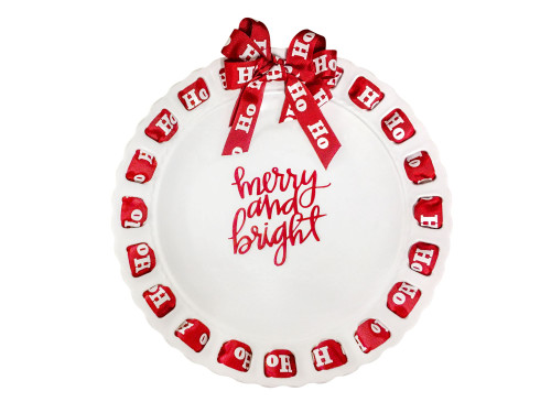 """12"""" Round White Merry and Bright Ribbon Plate with Red Ribbon - IMAGE 1"""