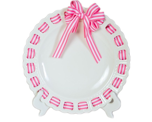 """12"""" Round White Ceramic Ribbon Plate with Pink and White Striped Ribbon - IMAGE 1"""
