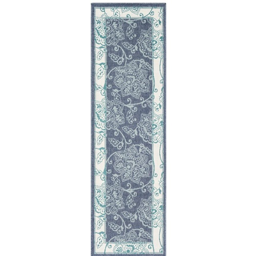 """2'3"""" x 11'9"""" Floral Pattern Blue Haze and Bright White Synthetic Rug Runner - IMAGE 1"""