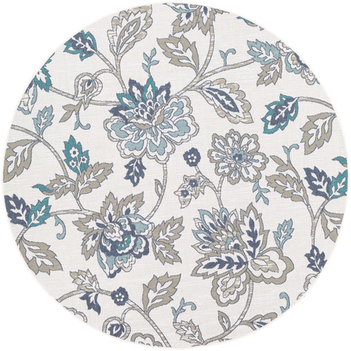 """5'3"""" Alfresco White with Brown and Blue Floral Patterned Round Synthetic Area Throw Rug - IMAGE 1"""