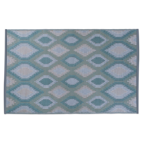 "48"" x 72"" Green and Gray Ikat Pattern Outdoor Patio Rectangular Area Throw Rug - IMAGE 1"
