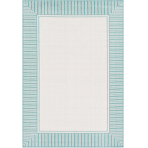 """2'3"""" x 7'9"""" Alfresco White and Green Striped Borderline Pattern Synthetic Area Rug - IMAGE 1"""