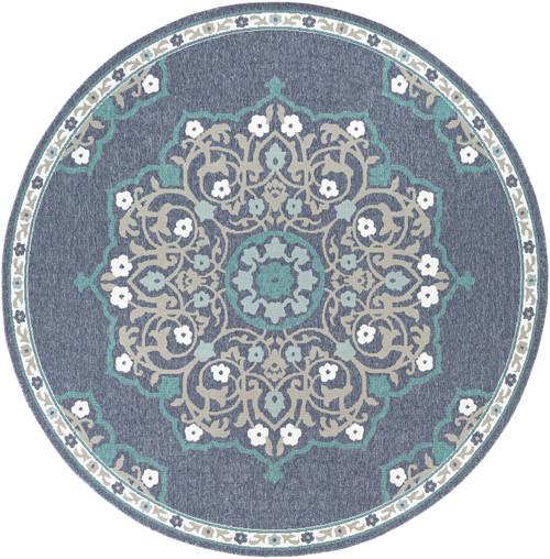 "8'9"" Persian Mandala Design Gray and Brown Round Machine Woven Area Rug - IMAGE 1"
