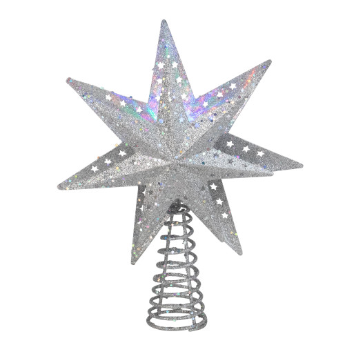 """12"""" Lighted Silver 3D Star with Rotating Projector Christmas Tree Topper - Multi-Color LED Lights - IMAGE 1"""