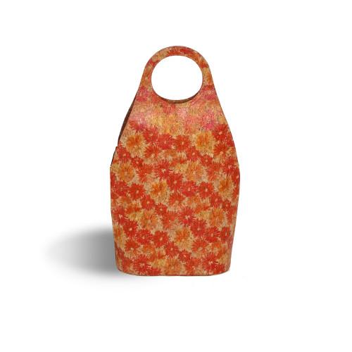 """16.75"""" Orange Floral Soleil Wine Tote - IMAGE 1"""