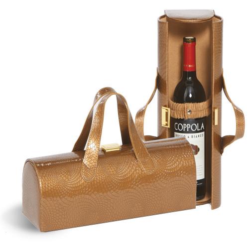 "4.5"" Golden Brown Leather Carlotta Clutch Wine Bottle Clutch - IMAGE 1"