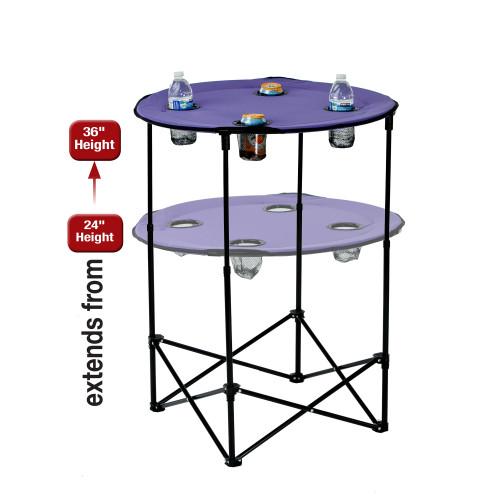 "36"" Purple Round Adjustable Scrimmage Tailgate Table - IMAGE 1"