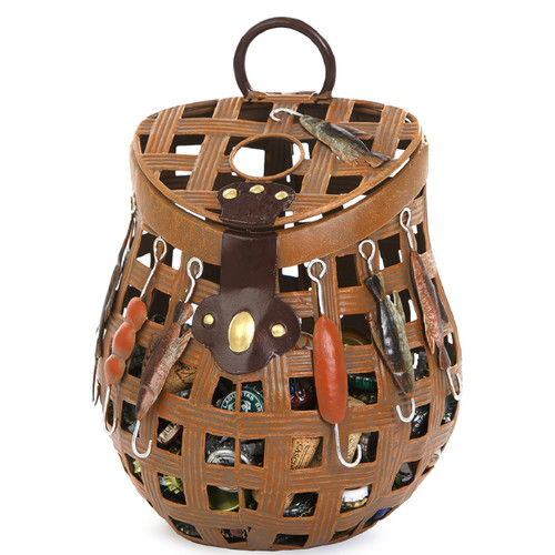 """11"""" Antique Brown Fishing Basket Cork and Bottle Caps Collector - IMAGE 1"""