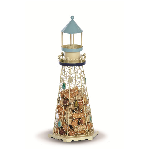 "18.5"" White and Blue Hand Crafted Lighthouse Cork Collector and Candle Holder - IMAGE 1"
