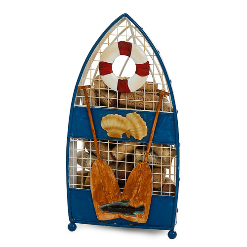 """12"""" Blue and White Metal Row Boat Cork Collector - IMAGE 1"""