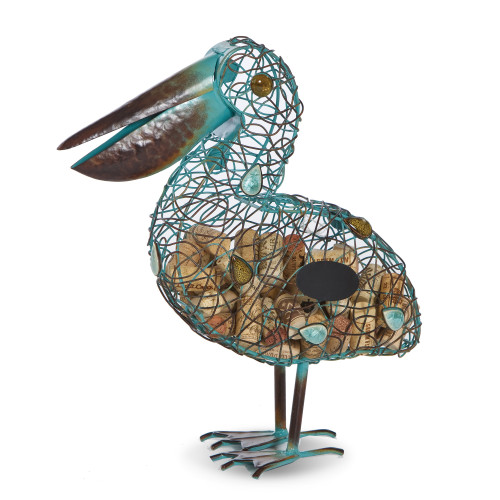 """15"""" Brown and Blue Metal Pelican Shape Cork Collector - IMAGE 1"""