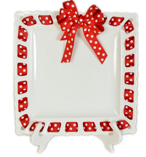 """12"""" White Square Ceramic Ribbon Plate, Red with White Polka Dotted Ribbon - IMAGE 1"""