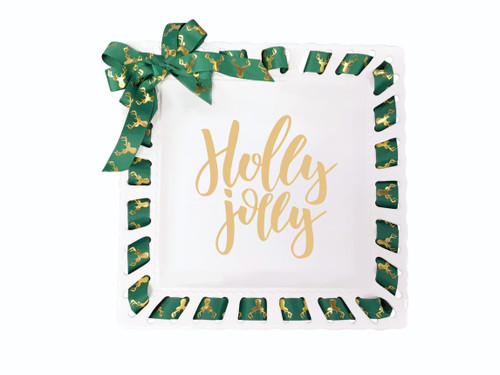 12-Inch White Square Ribbon Plate with Green Ribbon, Holly Jolly - IMAGE 1