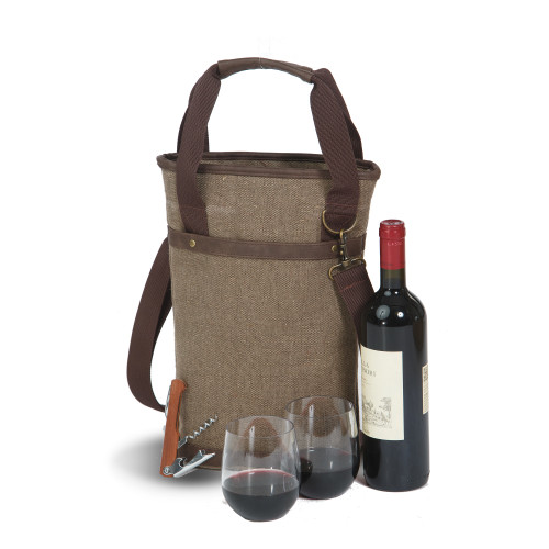 "14.5"" Brown Insulated Single Bottle Wine Bag with Shoulder Strap - IMAGE 1"
