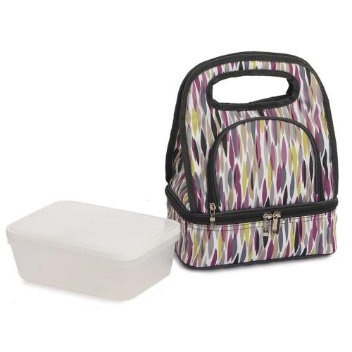 "12"" Purple Printed Savoy Lunch Bag - IMAGE 1"