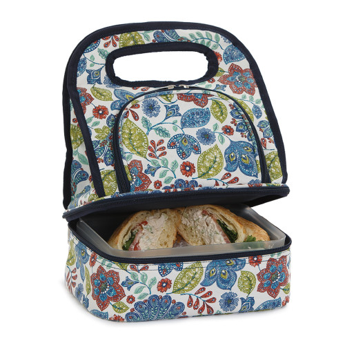 """12"""" Blue and Green Print Savoy Lunch Bag - IMAGE 1"""